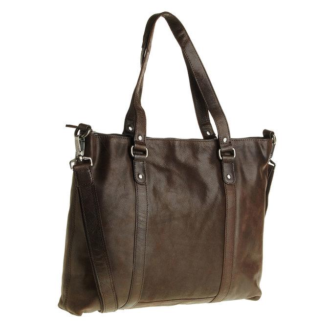 Skórzana torebka z odpinanym paskiem bata, brązowy, 964-4132 - 13