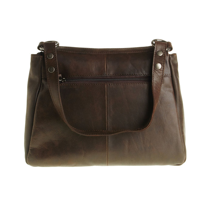 Skórzana torebka z klapą bata, brązowy, 964-4133 - 26