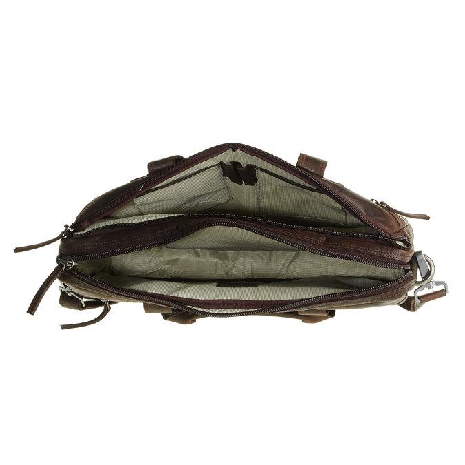 Skórzana torebka z zamkiem bata, brązowy, 964-4101 - 15