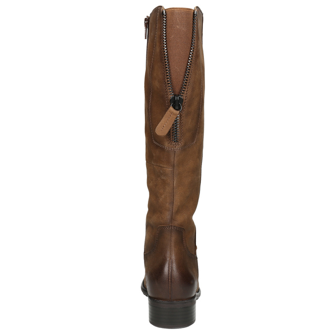 Brązowe skórzane kozaki bata, brązowy, 596-4604 - 17
