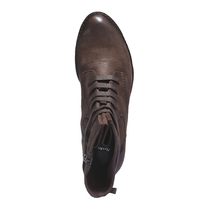 Sznurowane buty damskie ze skóry bata, 596-2100 - 19