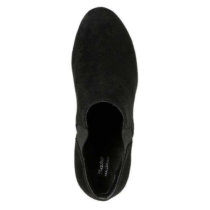 Botki damskie na obcasie, z elastycznymi wstawkami po bokach bata, czarny, 799-6601 - 19