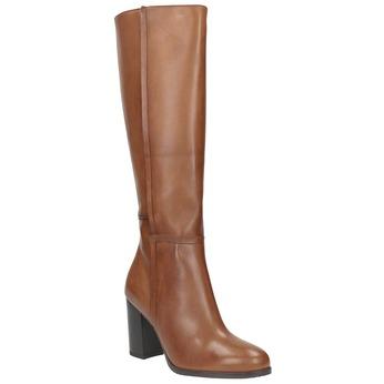Skórzane kozaki damskie bata, brązowy, 794-4447 - 13