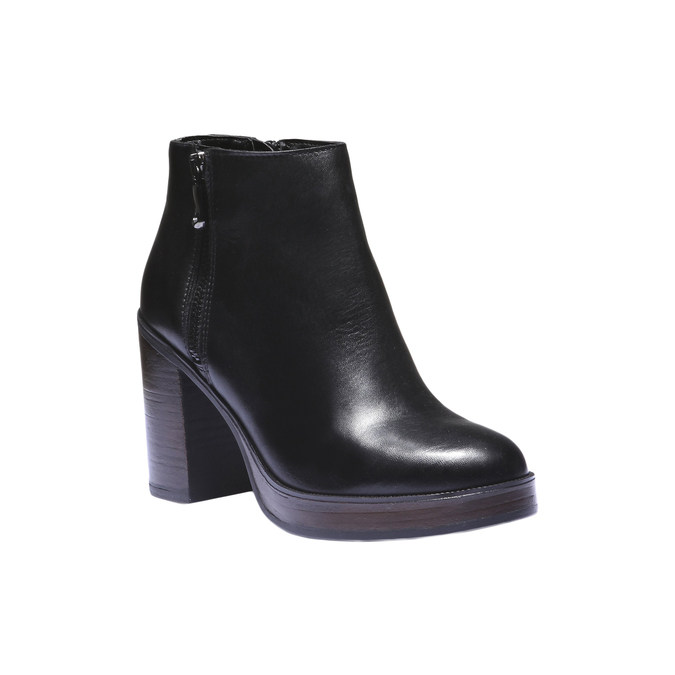 Skórzane buty do kostki na obcasie bata, czarny, 794-6584 - 13