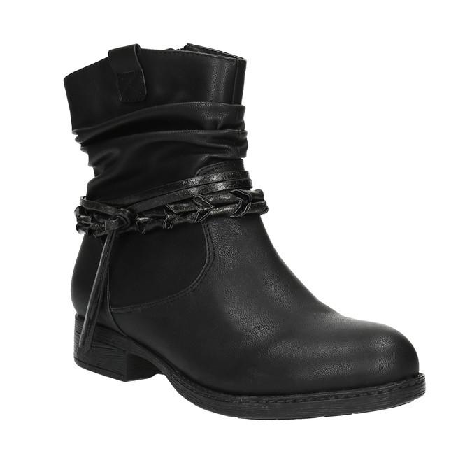 Czarne kozaki do kostki bata, czarny, 591-6610 - 13