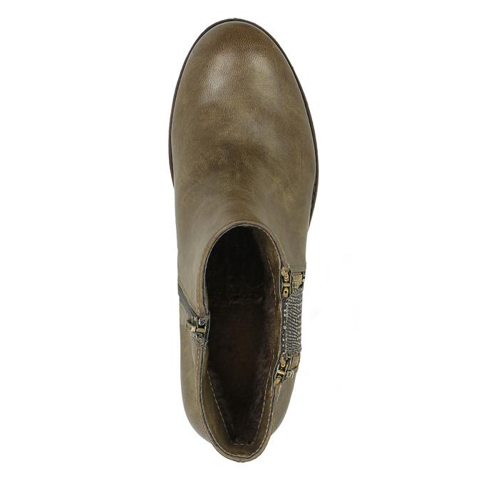 Damskie botki z zamkami bata, brązowy, 591-3612 - 19
