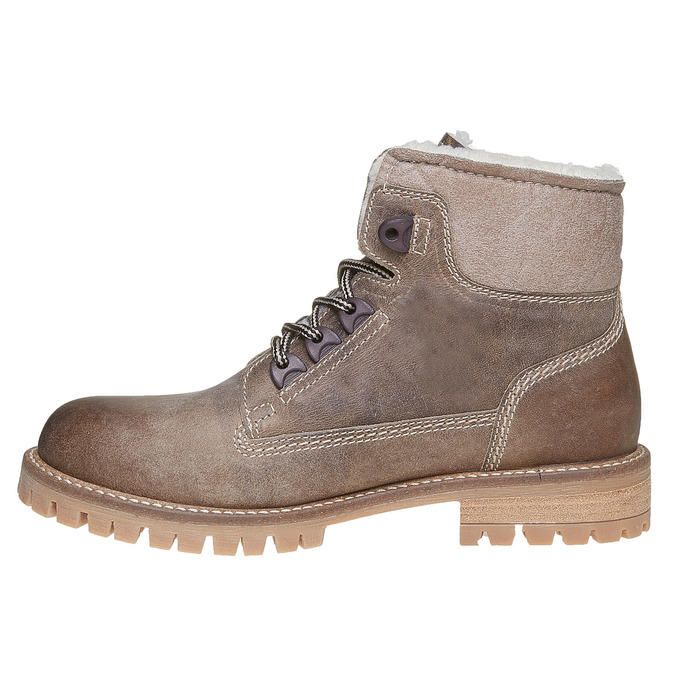 Zimowe skórzane buty damskie weinbrenner, brązowy, 594-8491 - 19