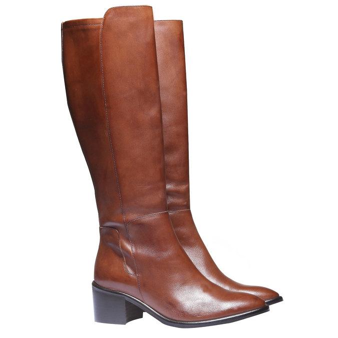 Skórzane kozaki bata, brązowy, 694-3252 - 26