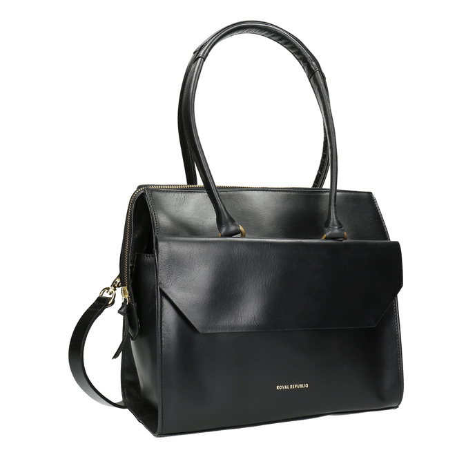 Skórzana torba zodpinanym paskiem royal-republiq, czarny, 964-6018 - 13