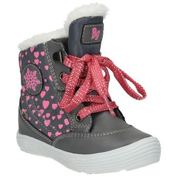 Zimowe buty dziecięce zserduszkami bubblegummer, szary, 199-2600 - 13