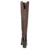 Skórzane kozaki za kolana, na masywnym obcasie bata, brązowy, 696-4611 - 17