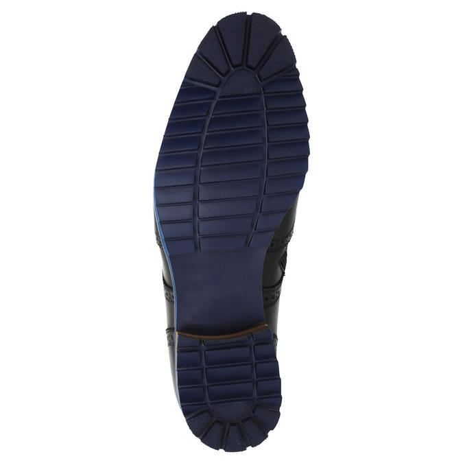 Skórzane buty za kostkę zniebieską podeszwą conhpol, czarny, 894-6682 - 26