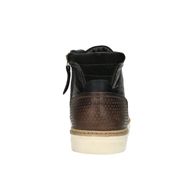 Ocieplane skórzane trampki za kostkę bata, brązowy, 896-4651 - 17
