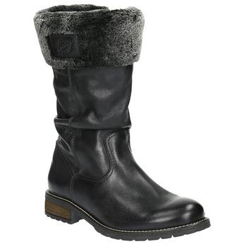 Damskie ocieplane skórzane kozaki bata, czarny, 594-6612 - 13