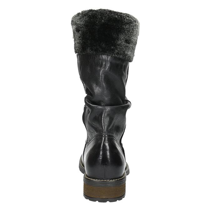 Damskie ocieplane skórzane kozaki bata, czarny, 594-6612 - 17