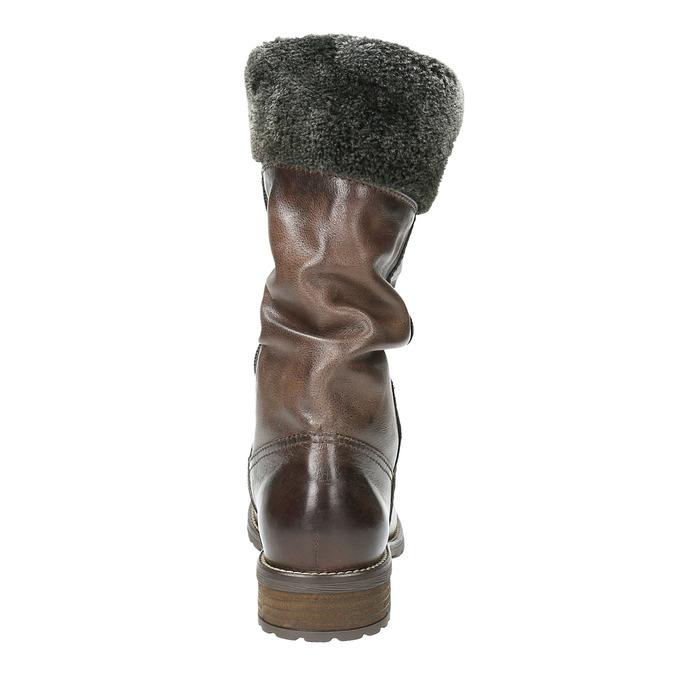 Skórzane kozaki damskie zfuterkiem bata, brązowy, 594-4612 - 17