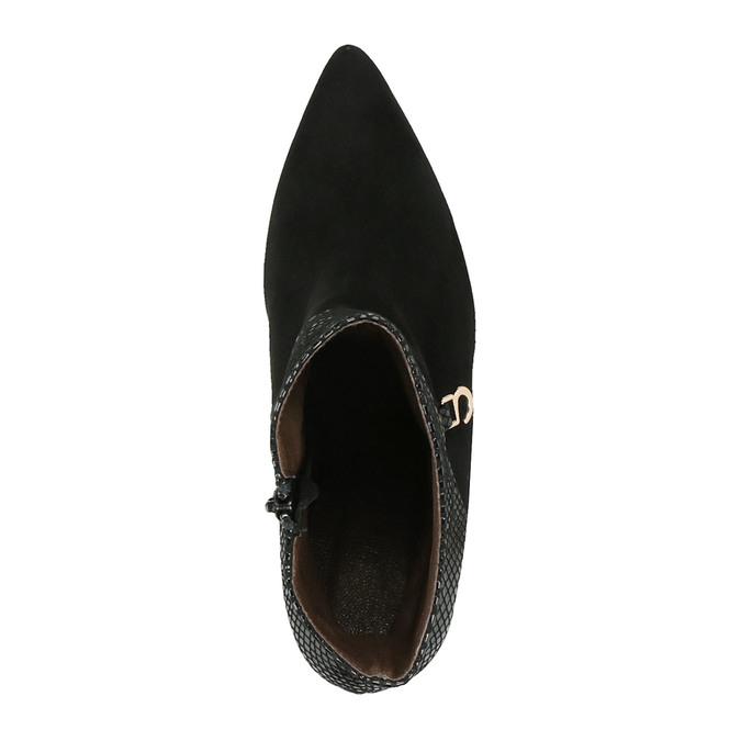 Skórzane botki na szpilce bata, czarny, 796-6640 - 19