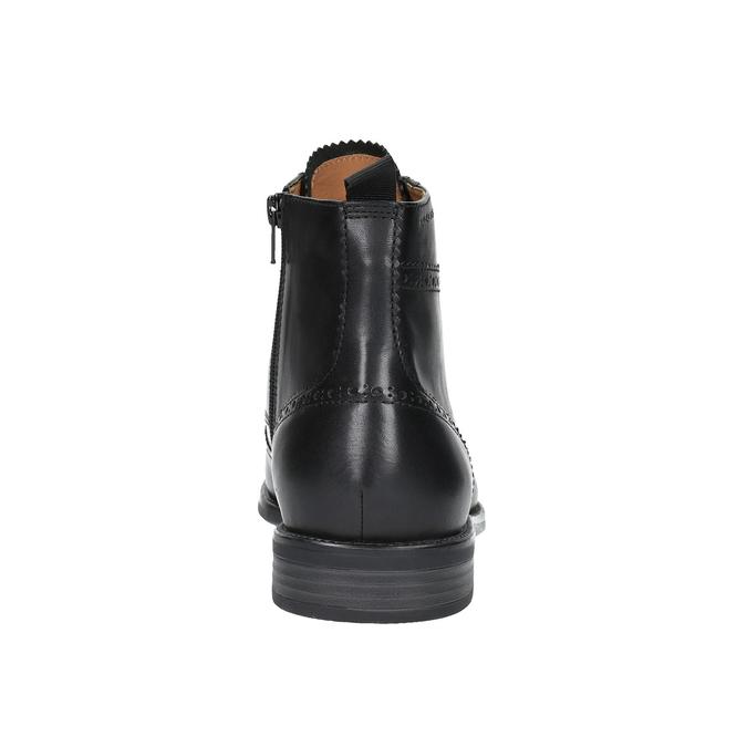 Skórzane buty za kostkę, ze zdobieniami brogue vagabond, czarny, 894-6003 - 17