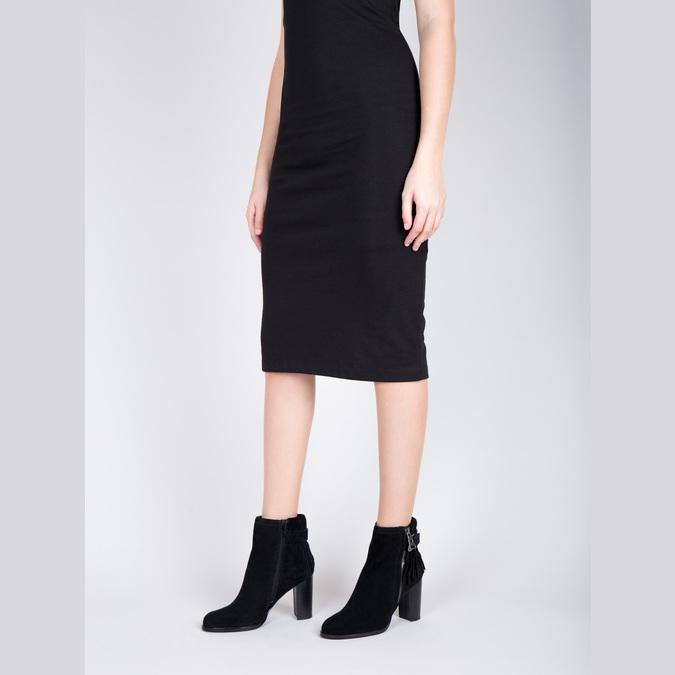 Skórzane buty za kostkę zfrędzlami bata, czarny, 793-6602 - 18