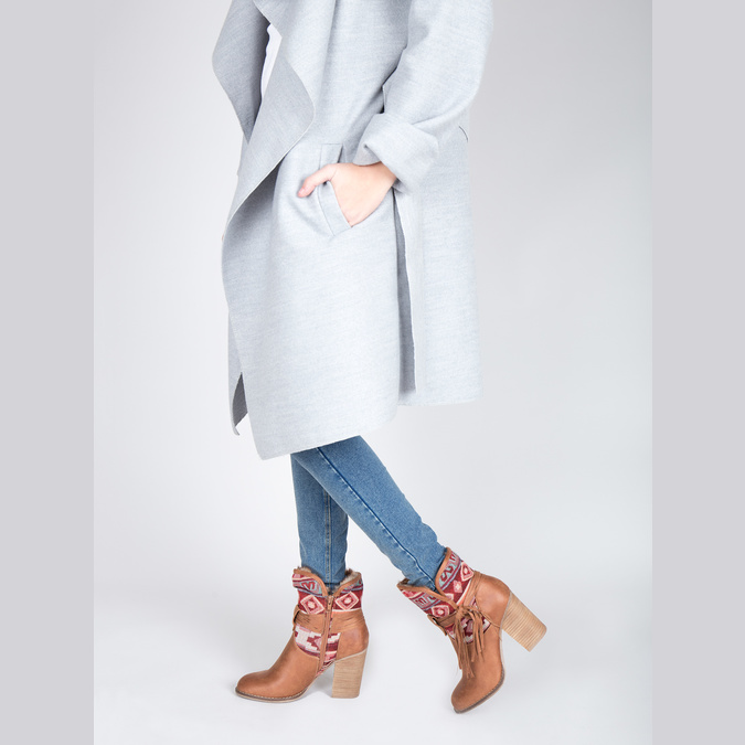 Ocieplane botki w stylu kowbojskim bata, brązowy, 699-4603 - 15