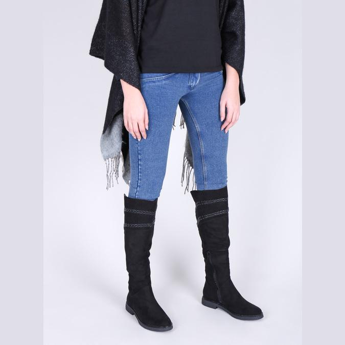 Czarne kozaki damskie za kolana bata, czarny, 599-6602 - 18