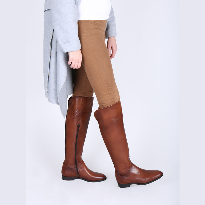 Brązowe skórzane kozaki do kolan bata, brązowy, 594-4605 - 18
