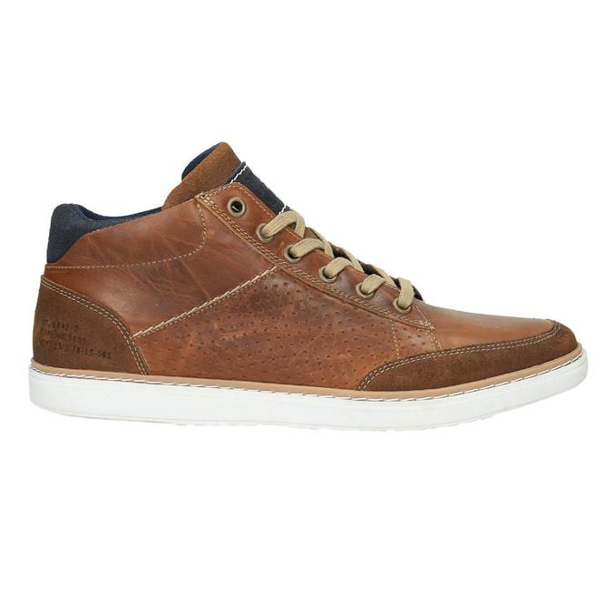 Skórzane trampki za kostkę bata, brązowy, 844-4621 - 15