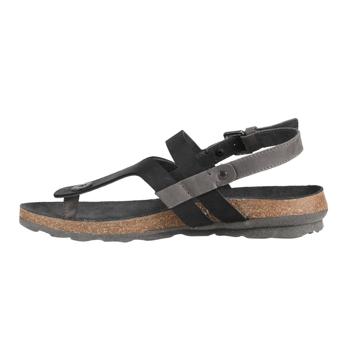 Damskie skórzane sandały weinbrenner, czarny, 566-6101 - 16