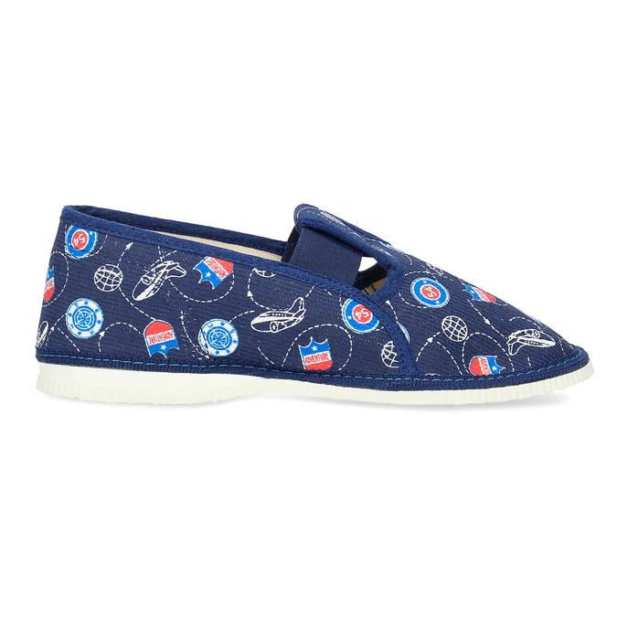 Granatowe wzorzyste kapcie dziecięce bata, niebieski, 379-9012 - 19