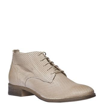 Damskie skórzane botki bata, beżowy, 524-8468 - 13