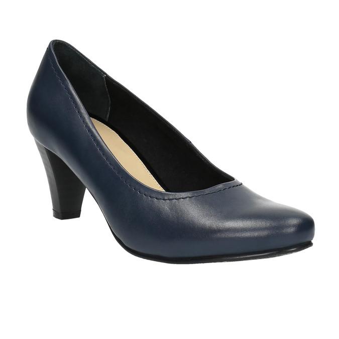 Damskie skórzane czółenka bata, niebieski, 624-9601 - 13
