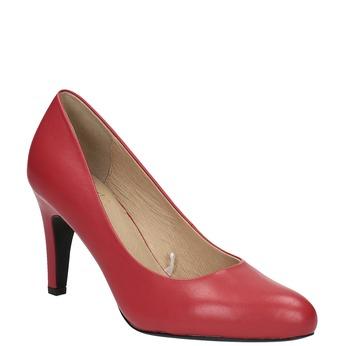 Czerwone czółenka ze skóry insolia, czerwony, 724-5633 - 13