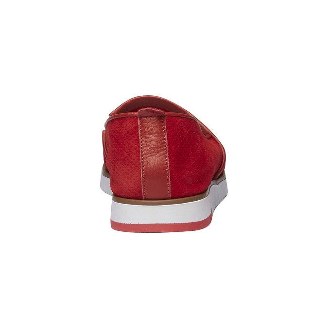 Skórzane buty Slip-on z perforacją flexible, czerwony, 513-5200 - 17