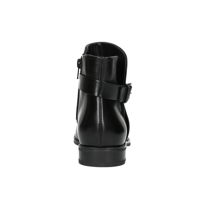 Buty ze skóry za kostkę z klamrą bata, czarny, 594-6602 - 17