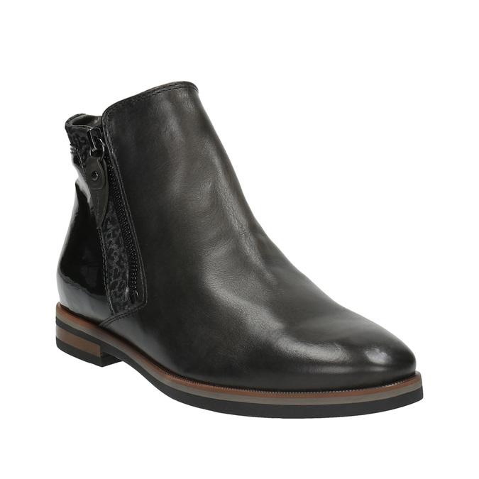 Buty za kostkę ze skóry z suwakami bata, czarny, 596-6605 - 13
