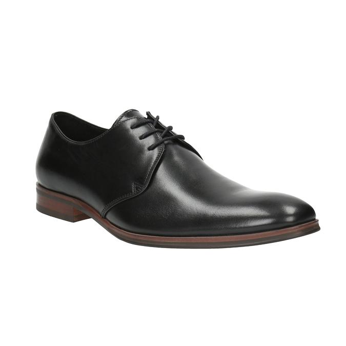 Czarne skórzane półbuty z podeszwą w swobodnym stylu bata, czarny, 824-6679 - 13