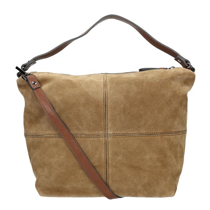 Skórzana torebka z przeszyciami bata, brązowy, 963-3130 - 19