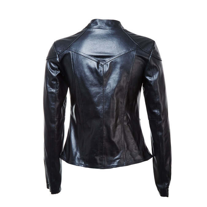 Skórzana kurtka damska zzamkami bata, czarny, 974-6162 - 26