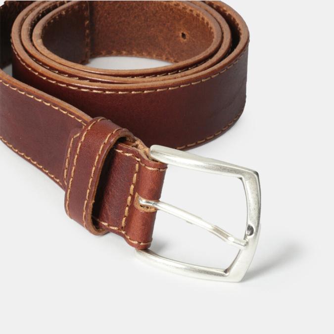 Męski pasek z przeszyciami bata, brązowy, 954-4147 - 16