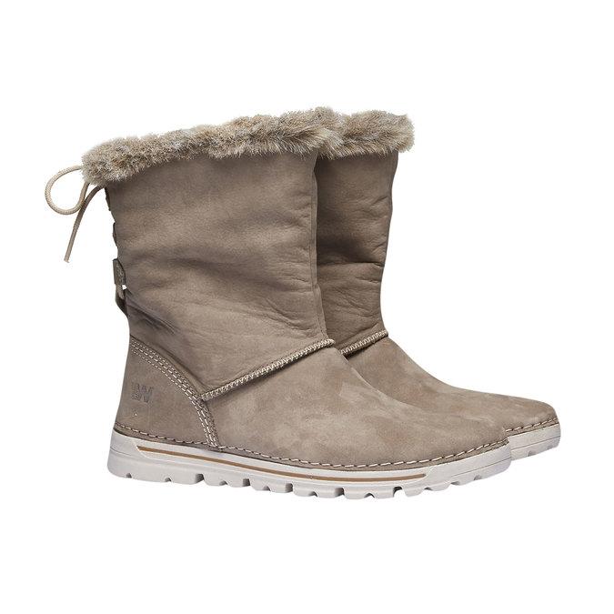 Zimowe buty damskie zfuterkiem weinbrenner, beżowy, 596-2334 - 26