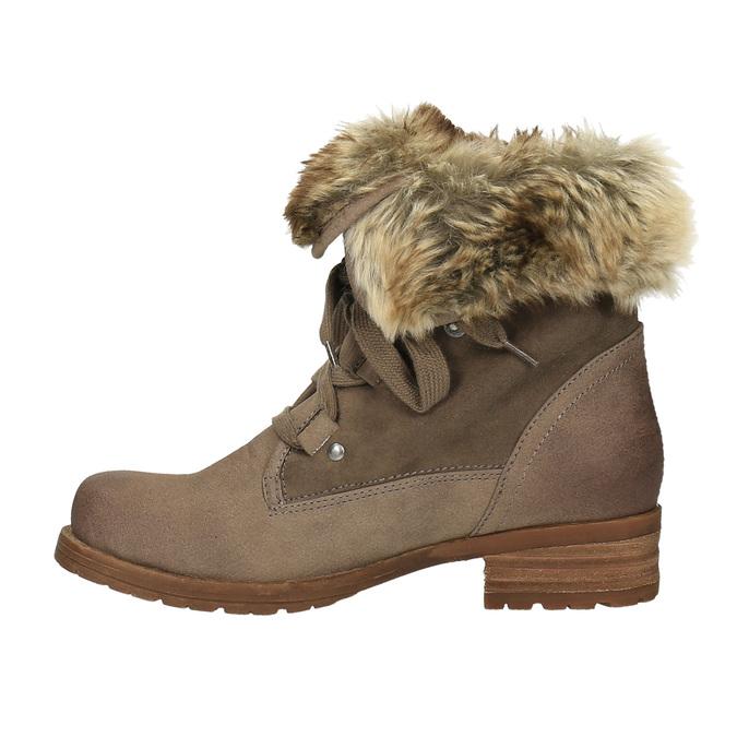 Zimowe buty damskie zfuterkiem bata, brązowy, 591-3605 - 26