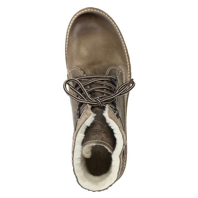 Skórzane buty zimowe zfuterkiem weinbrenner, brązowy, 594-2491 - 15