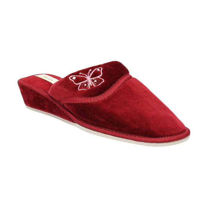Kapcie damskie na koturnie bata, czerwony, 679-5607 - 13