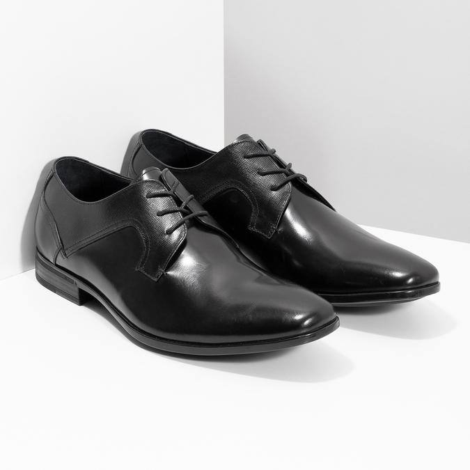 Czarne skórzane półbuty męskie bata, czarny, 824-6758 - 26