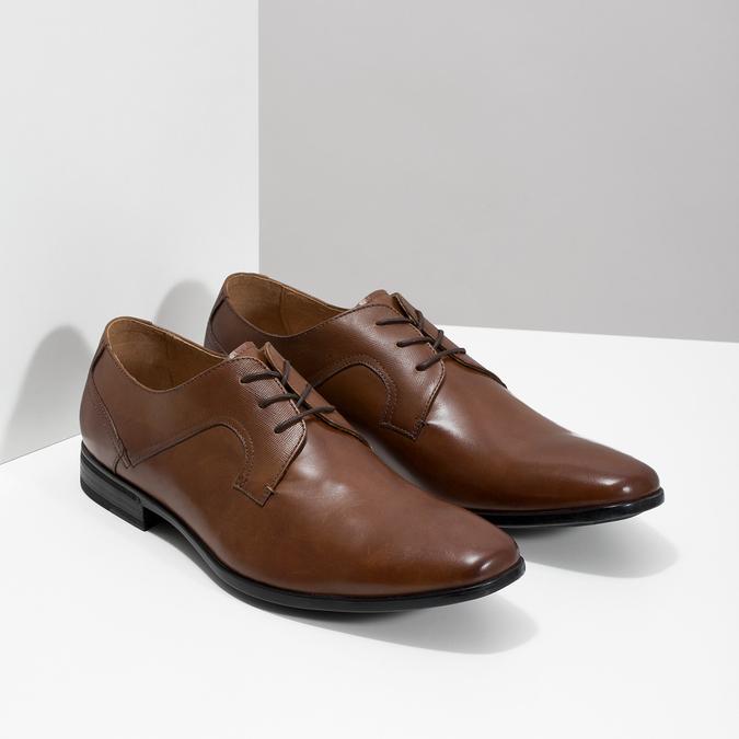 Brązowe skórzane półbuty męskie bata, brązowy, 826-3758 - 26