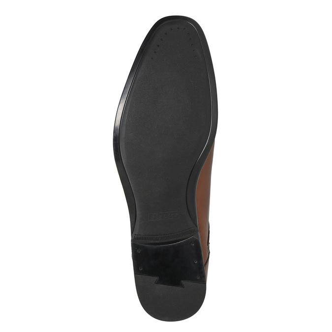 Brązowe skórzane półbuty męskie bata, brązowy, 826-3758 - 19