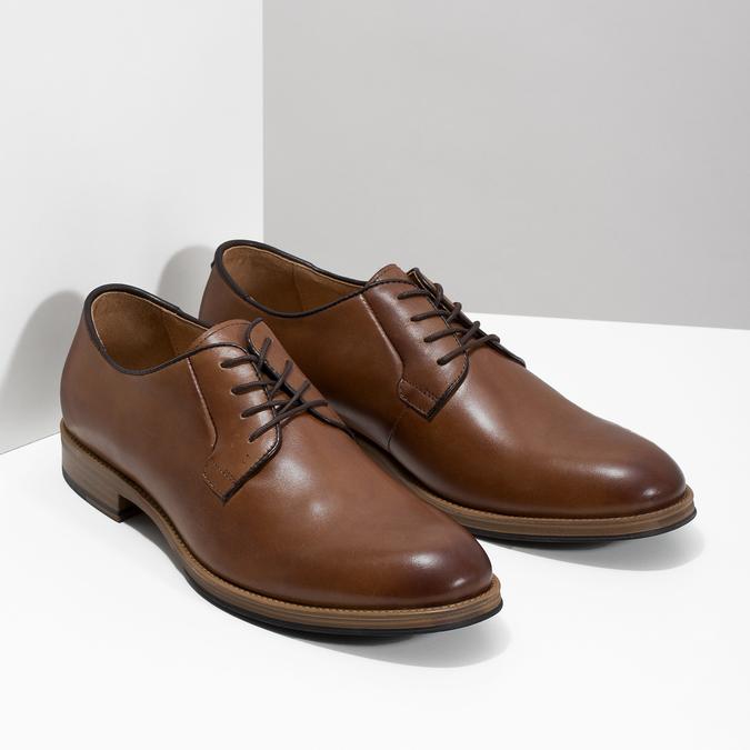 Skórzane półbuty męskie na grubszej podeszwie bata, brązowy, 826-3809 - 26