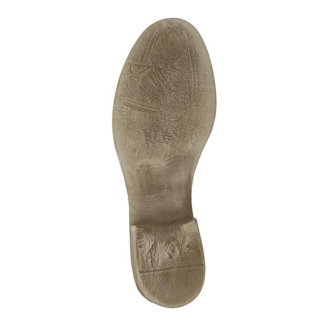Skórzane botki zperforowanym wzorem bata, brązowy, 596-4646 - 26
