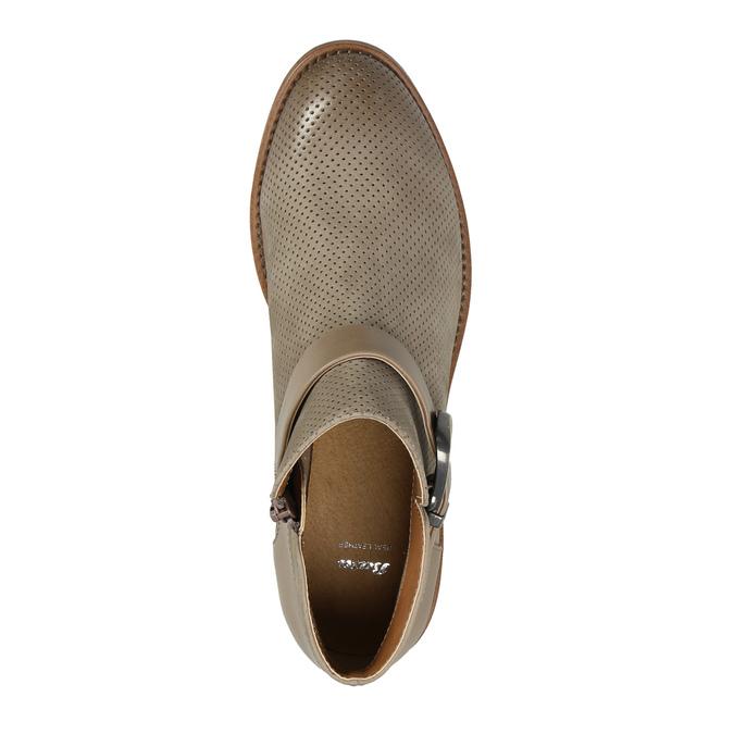 Skórzane botki zklamrami bata, brązowy, 596-3634 - 19