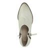 Skórzane botki zperforacją bata, biały, 596-1647 - 19